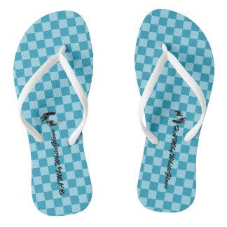 HAMbWG - Flip-Flop - Aqua Checkers w feet Logo Flip Flops