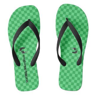 HAMbWG - Flip-Flop -Green Checkers w feet Logo Flip Flops
