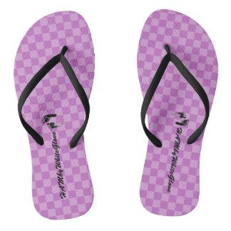 HAMbWG - Flip-Flop - Lilac Checkers w feet Logo Flip Flops