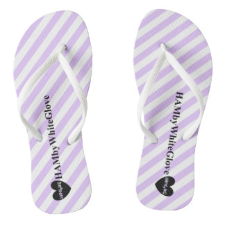 HAMbWG - Flip-Flop - Lilac White Stripe Heart Logo Flip Flops