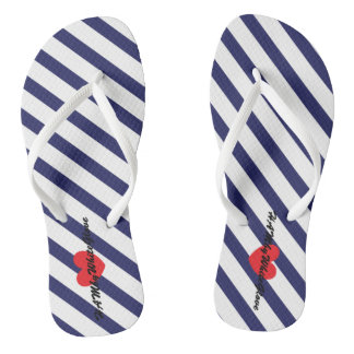 HAMbWG - Flip-Flop - Navy  White Stripe Heart Logo Flip Flops