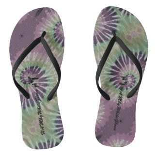 HAMbWG - Flip-Flop - Plum Multi-Color Tie Dye Flip Flops