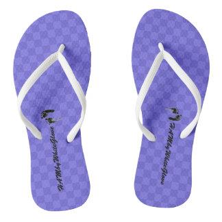 HAMbWG - Flip-Flop - Purple Checkers w feet Logo Flip Flops