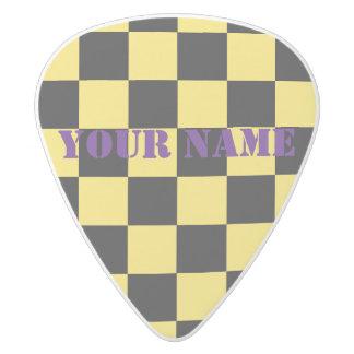 HAMbWG   Guitar Pics - Black  Checkers White Delrin Guitar Pick