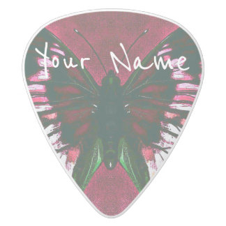 HAMbWG   Guitar Pics - Butterfly in a Cherry Color White Delrin Guitar Pick