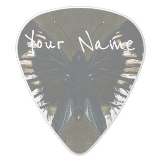 HAMbWG   Guitar Pics - Butterfly in a Olive White Delrin Guitar Pick