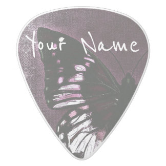 HAMbWG   Guitar Pics - Butterfly in a Plum Wine White Delrin Guitar Pick