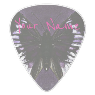 HAMbWG   Guitar Pics - Butterfly in a Purple White Delrin Guitar Pick