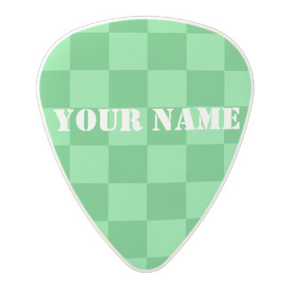 HAMbWG   Guitar Pics - Green Checkers Polycarbonate Guitar Pick