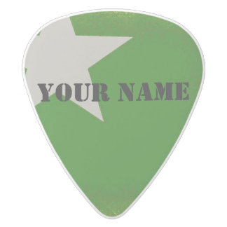 HAMbWG   Guitar Pics - Green w Star White Delrin Guitar Pick