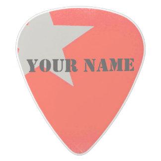 HAMbWG   Guitar Pics - Red w Star White Delrin Guitar Pick