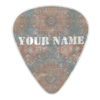 HAMbWG   Guitar Pics -Turqouise Rust Gypsy Pearl Celluloid Guitar Pick