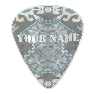 HAMbWG   Guitar Pics - Turquoise Southwest Design Pearl Celluloid Guitar Pick