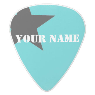 HAMbWG   Guitar Pics - Turquoise w Star White Delrin Guitar Pick