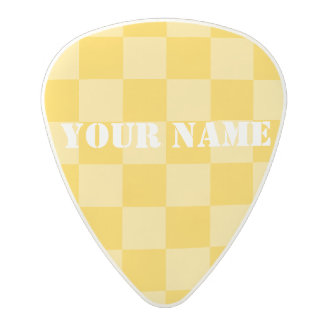 HAMbWG   Guitar Pics - Yellow Checkers Polycarbonate Guitar Pick