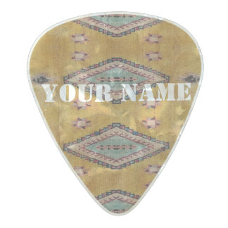 HAMbWG   Guitar Pics - Yellow Tribal Look Pearl Celluloid Guitar Pick