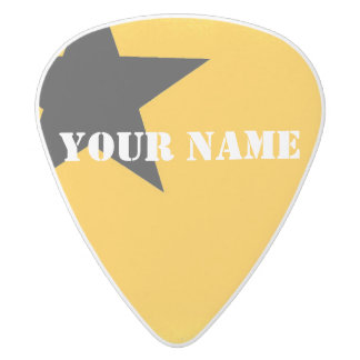 HAMbWG   Guitar Pics - Yellow w Star White Delrin Guitar Pick