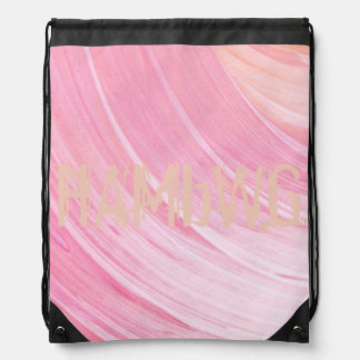 HAMbWG Logo Drawstring Backpack - Peach Pink Swirl