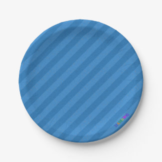 HAMbWG - Paper Goods - Blue Blue Stripe w Logo Paper Plate
