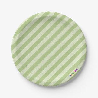 HAMbWG - Paper Goods - Lime Lime Stripe w Logo Paper Plate
