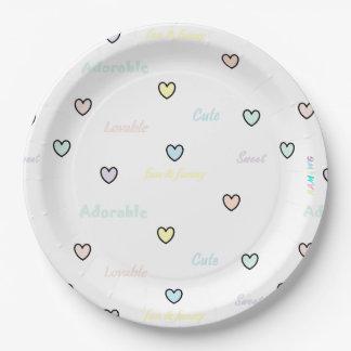HAMbWG - Paper Goods - Pastel Hearts Paper Plate