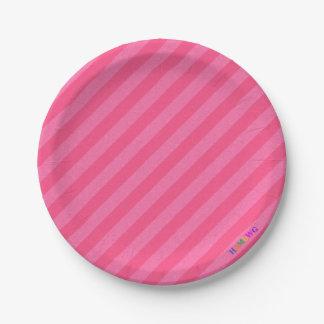 HAMbWG - Paper Goods - Pink-Pink Stripe w Logo Paper Plate