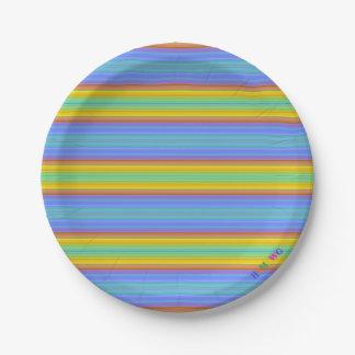 HAMbWG - Paper Goods - Rainbow Stripe w Logo Paper Plate