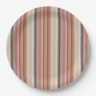 HAMbWG - Paper Goods - Read Beige Brown Stripe Paper Plate