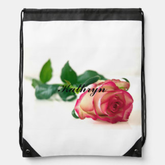 HAMbWG  - Single Rose Drawstring Backpack