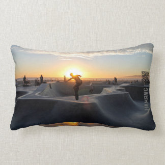 HAMbWG - Skateboarder in Sunset Lumbar Pillow