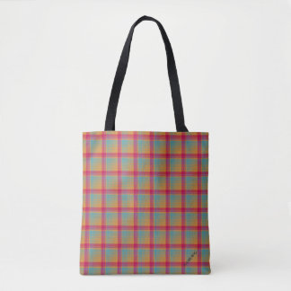 HAMbWG - Tote Bag - Tangerine/Cherry/Aqua Plaid