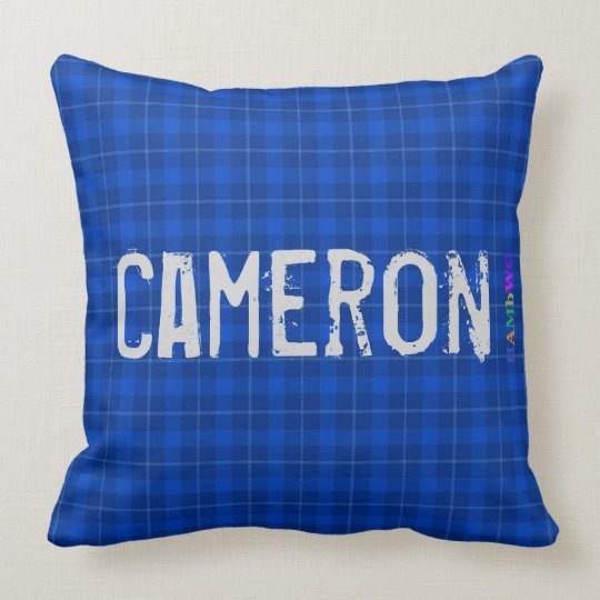 HAMbWG Vanity Pillow - Add name - Blue Plaid
