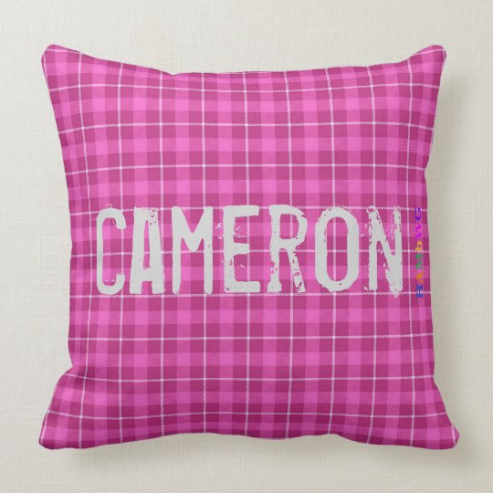 HAMbWG Vanity Pillow - Add name - Pink Plaid
