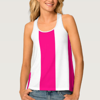 HAMbWG - Women's Tank Top - Hot Pink White Stripe