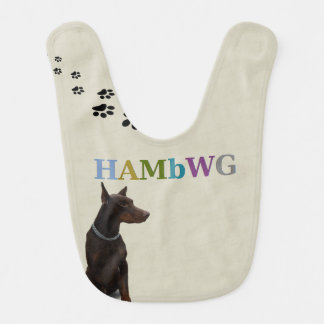 HAMbyWG Baby  Bib - Red Doberman Bailey