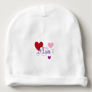 HAMbyWG Baby Cotton Beanie - Red Purple Hearts Baby Beanie