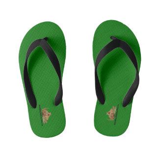 HAMbyWG - Boys Flip- Green fine stripes Kid's Flip Flops