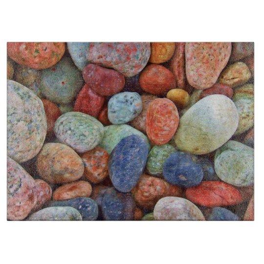- HAMbyWG - Coloured Rocks - Glass Cutting Board