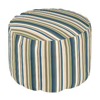 HAMbyWG - Cotton Pouf Chair  - Teal Creme Stripes