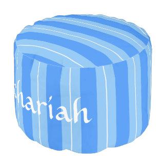 HAMbyWG - Cotton Round Pouf Chair - Blue Stripes
