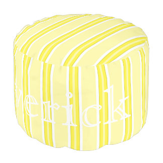 HAMbyWG - Cotton Round Pouf Chair - Lemon Stripes