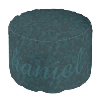 HAMbyWG - Cotton Round Pouf Chair -Teal Camouflage