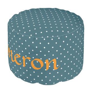 HAMbyWG - Cotton Round Pouf Chair - Teal Polka Dot