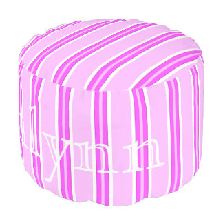 HAMbyWG - Cotton Round Pouf Chair - Violet Stripes