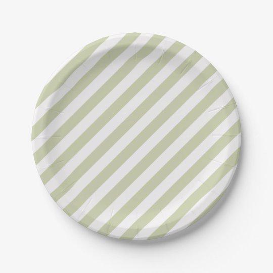 HAMbyWG - Custom Paper Plates - Beige/White Stripe 7 Inch Paper Plate