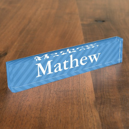 HAMbyWG - Desk Name Plate - Blue Stripe