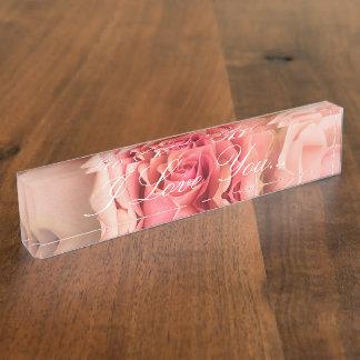 "HAMbyWG Desk Name Plate - Peach Rose ""I Love You"""