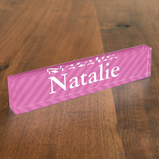 HAMbyWG - Desk Name Plate - Pink Stripe