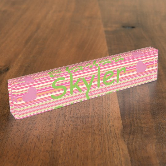 HAMbyWG - Desk Nameplate - Pink Bar Stripes