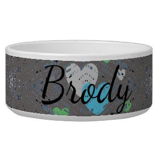 HAMbyWG - Dog food Bowl - Gray Green Blue Hearts
